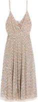 Valentino Sequined Tulle Midi Dress - Silver