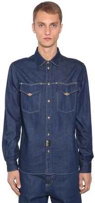 Versace Jeans Couture Denim Western Shirt W/ Metal Details