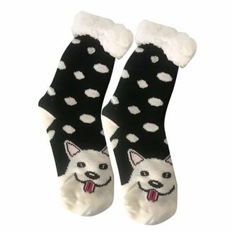 Cutudu Ladies Slipper Socks Christmas Women Girls Soft and Cosy Gripper Fleece Embroidery Solid Home Coral Velvet Cartoon Floor Hose Stockings (Z13 1 pair)