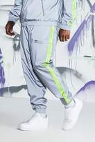 BoohooMAN Big & Tall Quavo Reflective Joggers With Tape