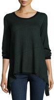 Max Studio Asymmetric-Hem Colorblock Sweater, Black/Heather Green