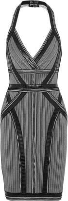 Herve Leger Lavinia Faux Leather-trimmed Bandage Halterneck Dress