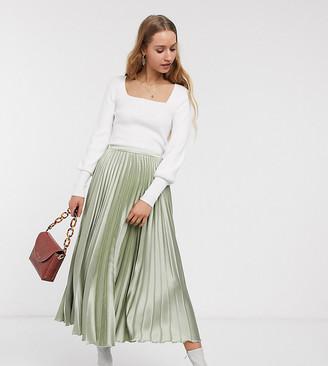 Asos DESIGN Tall satin pleated midi skirt in green