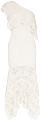 Alexander McQueen One-Shoulder Lace Midi Dress
