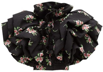 Rodarte Ruffled Floral-print Cloque Jacket - Black Multi