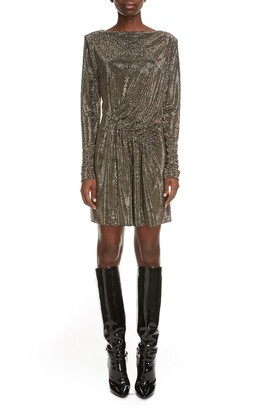 Saint Laurent Studded Long Sleeve Minidress