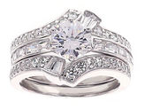 FINE JEWELRY DiamonArt Cubic Zirconia Sterling Silver Bridal Ring Set