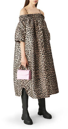 Ganni Leopard Print Cold Shoulder Shift Dress