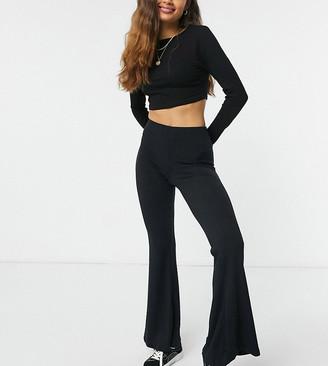 New Look Petite rib flared legging in black
