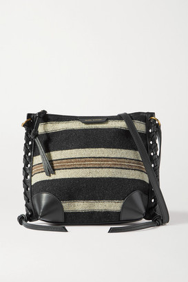 Isabel Marant Irope Leather-trimmed Striped Cotton Shoulder Bag - Black