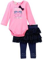 Juicy Couture Looking Fabulous Glasses Bodysuit & Denim Skegging Set (Baby Girls)