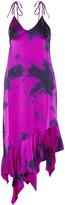 Marques Almeida Marques' Almeida Tie-dyed asymmetric silk-satin midi dress