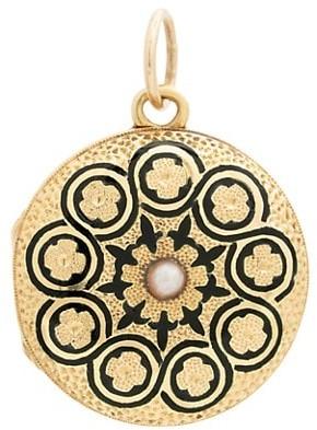 Stephanie Windsor Victorian 18K Yellow Gold & 1MM Seed Pearl Black Enamel-Engraved Mini Circle Locket