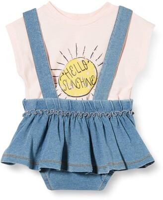 MEK Baby Girls' Compl.2 Pz Gonna Jersey Indaco + T-Shirt Clothing Set