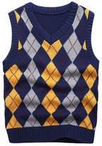 KID1234 Boy's School Uniform V-Neck Cable Front Color Block Plaid Sweater Vest