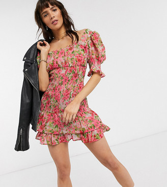 Reclaimed Vintage inspired mini dress in floral print with shirring detail and frill hem