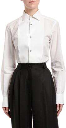 Dolce & Gabbana Long-Sleeve Cotton Poplin Jewel-Button Blouse