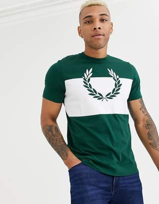 Fred Perry t-shirt with block print in green