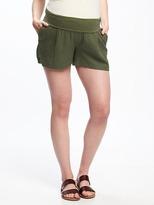 "Old Navy Maternity Roll-Panel Linen-Blend Shorts (4"")"