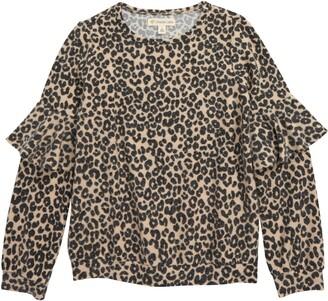 Tucker + Tate Leopard Print Ruffle Sleeve Pullover