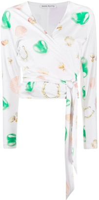Saks Potts Lis Symbol print wrap blouse