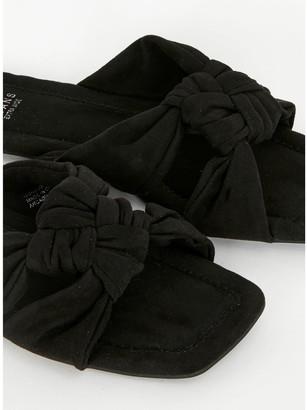Evans Extra Wide Fit Noko Square Toe Sandals - Black