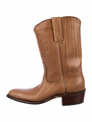 Frye Signature Logo Leather Western Boots Brown
