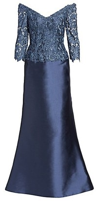 Helen Morley Off-The-Shoulder Lace Bodice Gown