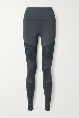 Alo Yoga Moto Mesh-trimmed Stretch Leggings - Anthracite