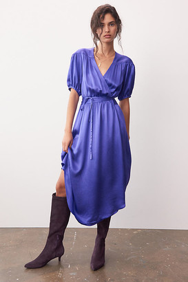 Maeve Katrina Midi Wrap Dress By in Purple Size XS