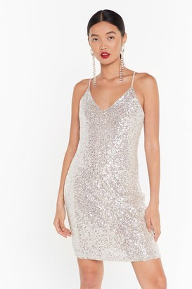 Nasty Gal Womens Talk of the Town Sequin Mini Dress - Silver