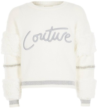 River Island Girls Faux Fur Couture Jumper-White