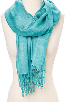 Naturally Knotty Women's Accent Scarves Turquoise - Turquoise Fringe Lightweight Scarf