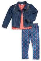 Nannette Little Girl's Denim Jacket Tee and Leggings Set