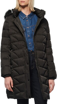 Andrew Marc Medina Faux Fur Trim Down Puffer Jacket
