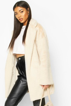 boohoo Faux Fur Belted Robe Coat