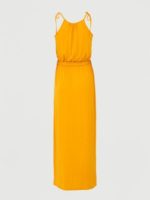 Very Scoop Neck Tie Waist Maxi Dress - Yellow