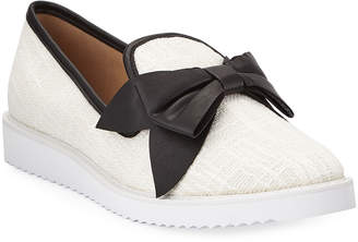 Karl Lagerfeld Paris Classie Boucle Knit Bow Sneakers