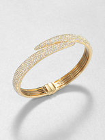 Adriana Orsini Pave Crystal Tail Bangle Bracelet/Goldtone
