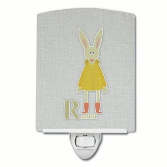 Caroline's Treasures Alphabet R for Rabbit Ceramic Night Light