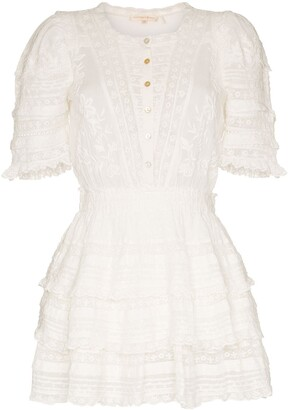 LoveShackFancy Quincy ruffled cotton mini dress