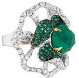 Ring 18K Emerald & Diamond Flower Cocktail