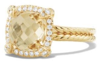 David Yurman Chatelaine Pave Bezel Ring with Gemstone & Diamonds in 18K Yellow Gold/9mm
