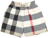 Burberry Checked Cotton Blend Swim Shorts
