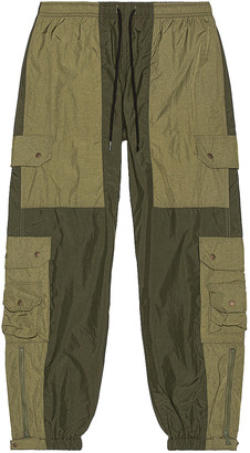 John Elliott Paneled Nylon Cargo Pants in Olive   FWRD