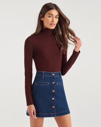 7 For All Mankind Long Sleeve Turtleneck Tee in Bordeaux Wine