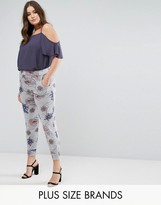 Koko Grey Floral Elastic Waist Jersey Pants