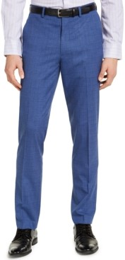 Alfani Men's Slim-Fit Stretch Medium Blue Plaid Suit Pants, Created for Macy's