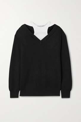 alexanderwang.t Layered Merino Wool And Stretch-cotton Jersey Sweater - Black