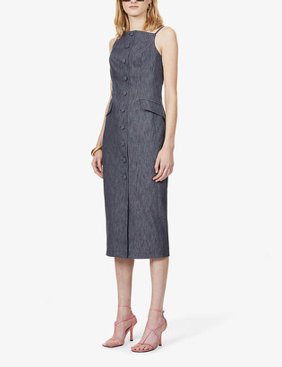 Carolina Herrera Button-down stretch-denim midi dress